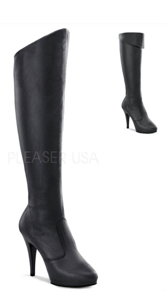 Flair Foldover Boots - Black Leather/Black (P)