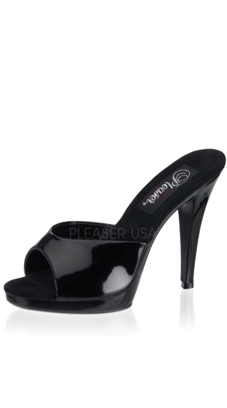 4 1/2 Inch Stiletto Heel Pf Slide - Black Patent