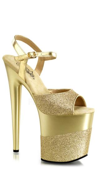 8 Inch Heel, 4 Inch Platform Ankle Strap Sandal - Gold Glitter/Gold-Glitter