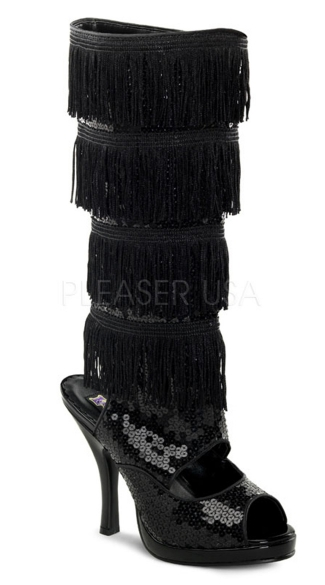 4 1/2 Inch Flapper Knee Boot With Fringe - Black Sequins