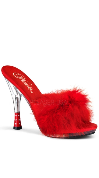 4 3/4 Inch Rhinestone Embossed Heel Marabou Slipper - Red Marabou Fur/Clear