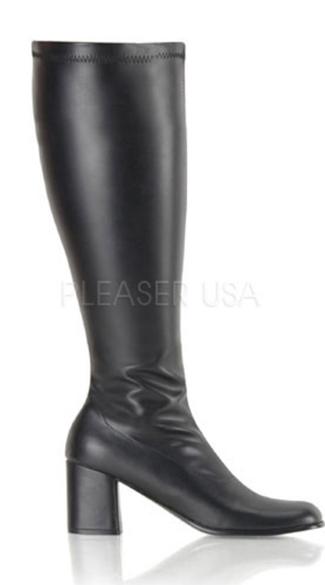 Block Heel Gogo Boot - Stretch Black Matte