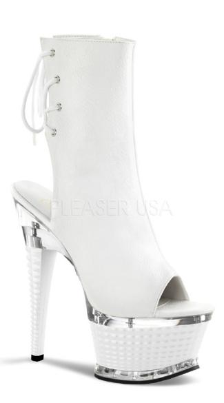 6 1/2 Inch Textured Heel, 2 1/2 Inch Textured Platform Boot - White Matte