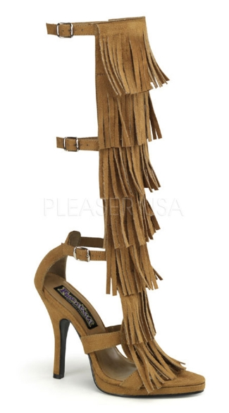 Native American Fringe Knee High Sandals - Tan Microfiber
