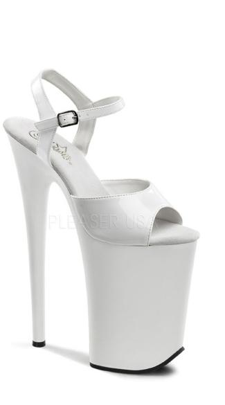 9 Inch Heel, 5 1/4 Inch Platform Ankle Strap Sandal - White