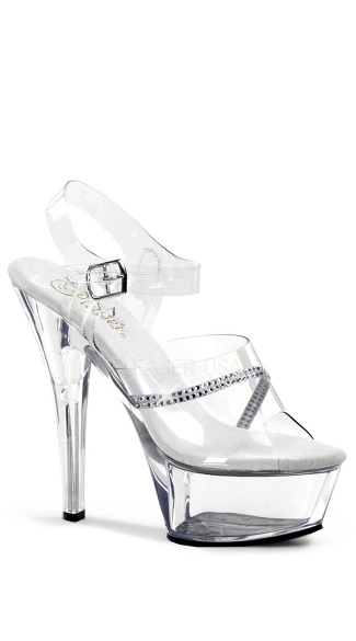 "6 Inch Stiletto Sandal with Rhinestones, 6"" Stiletto Heel Ankle Strap Platform Sandal With Rhinestone - Yandy.com"