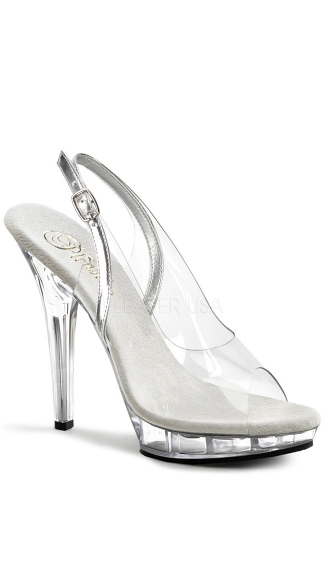 5 Inch Sling Back Sandal - Silver/Clear