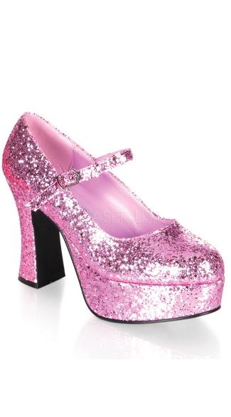 Glitter Mary Jane Platform Shoe - Baby Pink Glitter