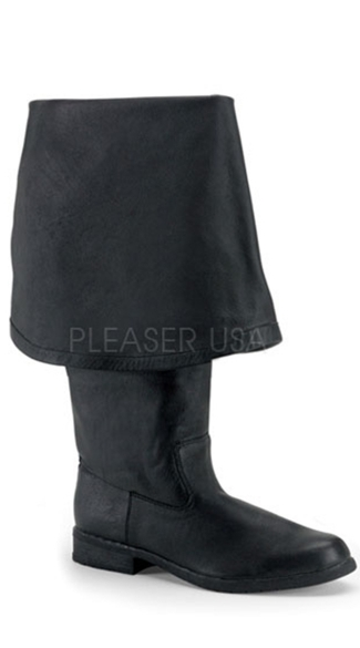 Men's Pirate Boot with Bell Cuff - Black Leather (p)