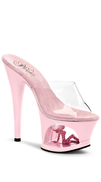 7 Inch Heel, 2 3/4 Inch Cut-out Pf Slide - Clear/Baby Pink