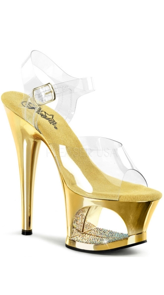 7 Inch Heel Platform Sandals with Rhinestones - Clear/Gold Chrome