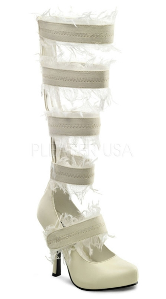 "4 1/2 Inch Strappy Mummy Pump, 4 1/2"" Heel 3/4\"" Hidden Platform Mummy Pump Lace Up - Yandy.com"