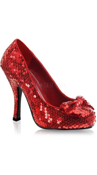 Red Hot Sequin Bow Pump, Dorothy Costume Heels, Sparkly Red Heels