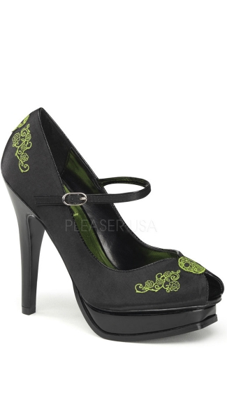 5 1/4 Inch Mary Jane With Embroidery Detail - Black Satin-lime Green Embroidery
