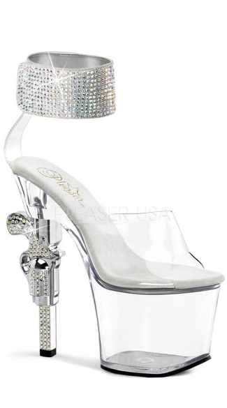 7 Inch R/s Embellished Gun Heel, 3 1/4 Inch Pf Sandal - as shown
