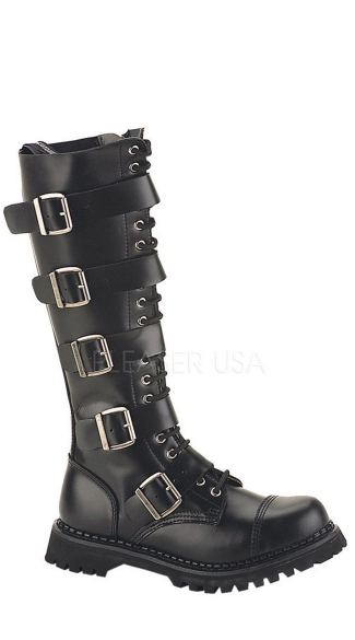 Mens Goth Knee High Boots, Knee High Punk Boots, Mens Knee High Leather Boots