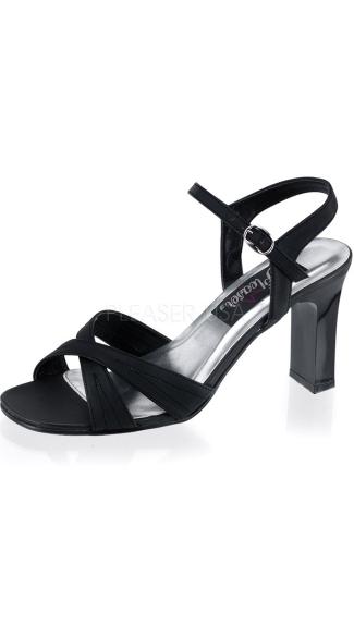 3 1/4 Inch Square Heel Ankle Strap Sandal - Black Satin Pu