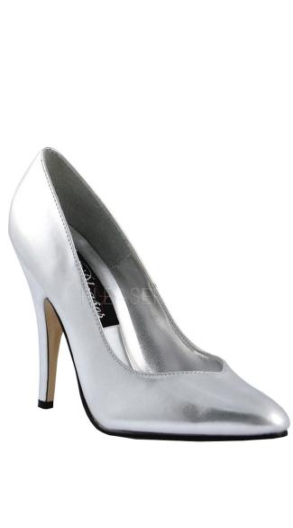 5 Inch Heel Pump - Silver Pu