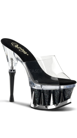 6 1/2 Inch Heel, 2 3/4 Inch Pf Slide Featuring Shark Teeth Spikes - Clear/Black Glitter