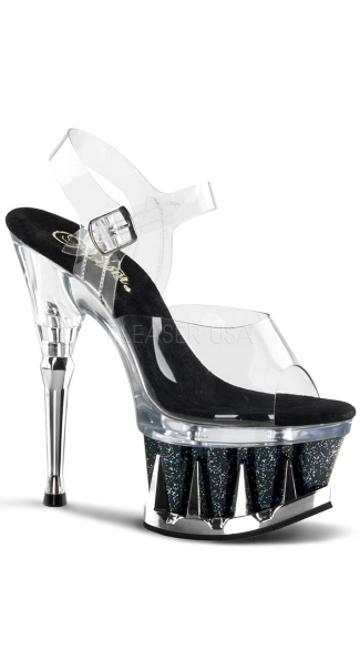 6 1/2 Inch Shark Teeth Spikes Platform Sandal - Clear/Black Glitter