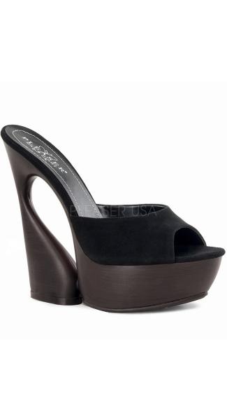 6 Inch Sculptured Heel With Platform - Black Suede