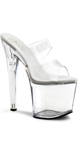 7 1/2 Inch Stiletto Heel Two-band Platform Slide - as shown