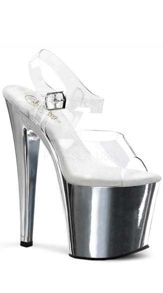 7 1/2 Inch Stiletto Heel Ankle Strap Pf Sandal - as shown