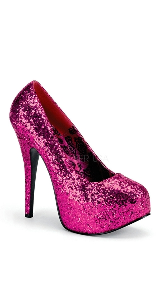 Wide Glitter Platform Pump - Hot Pink Glitter