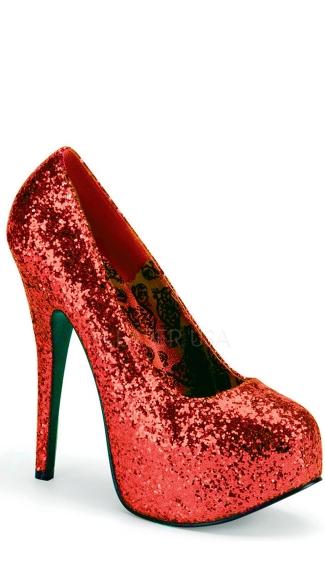 Wide Glitter Platform Pump - Red Glitter