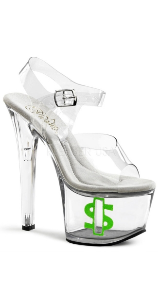 7 Inch Sandal Tip Jar, Dollar Sign Heels, Money Heels - Yandy.com