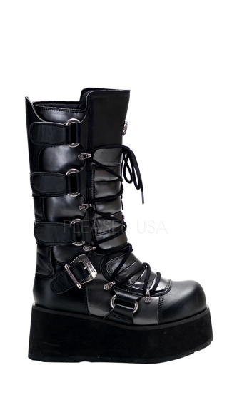 3 1/4 Inch Platform Goth Punk Black Grey Lace Up Calf