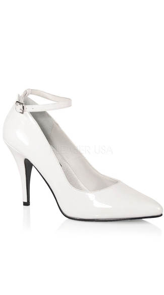 4 Inch Ankle Strap Pump - White Patent