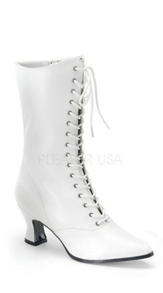 Women's Victorian Boots - White PU