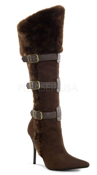 4 1/4 Inch Viking Knee High Boot - Dark Brown Microfiber-pu