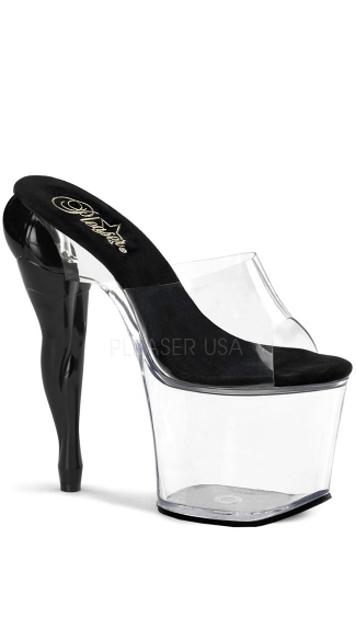 7 1/2 Inch Heel With Sculpted Leg Heels, 7 1/2 Inch Clear Strap Sandal with Leg Detail - Yandy.com