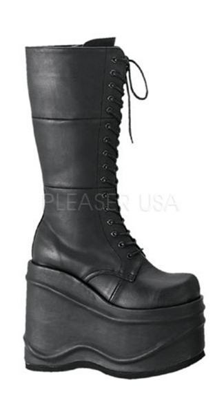 "5 3/4"" Goth Punk Cyber Lace-up P/f Blk Pu Knee Bt"