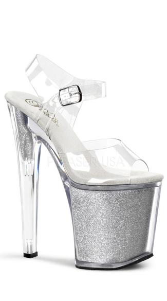 8 Inch Stiletto Ankle Strap Glitter-filled Platform Sandal - Clear/Silver Glitter