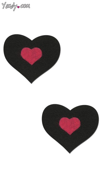 Heart Shaped Pastease - Black/Hot Pink