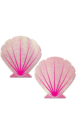 Glitter Pink Seashell Pasties - Pink