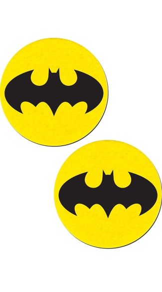 Black Bat and Yellow Circular Pasties, Cosplay Pasties, Bat Pasties