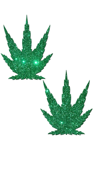 Mary Jane Pot Leaf Pasties - Glittering Green