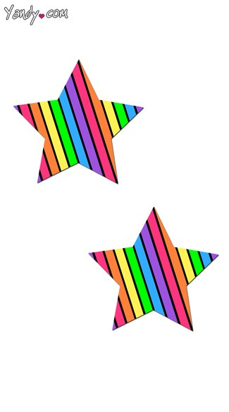 Rainbow Stripe Star Pasties, Rainbow Pasties, Rainbow Star Pasties