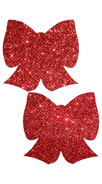 Red Glittering Bow Pasties, red bow pasties - Yandy.com