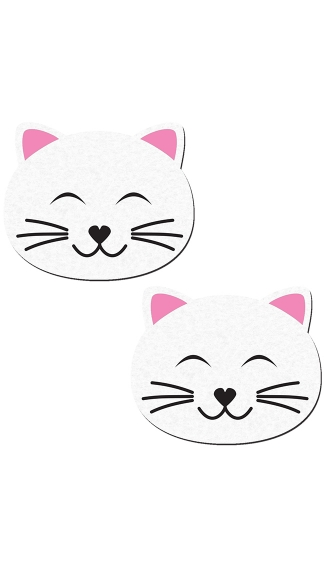 Cute Kitty Pasties - White/Pink