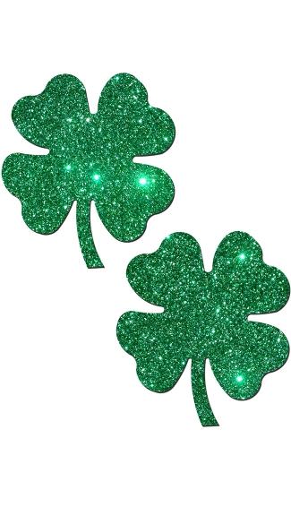 Glitter Shamrock Pasties - Green Glitter