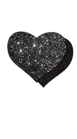 Dark Love Glitter Heart Pasties - Black Glitter