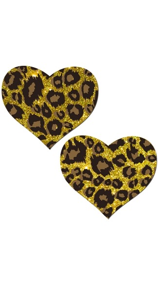 Sparkly Heart Cheetah Pasties - Gold Cheetah