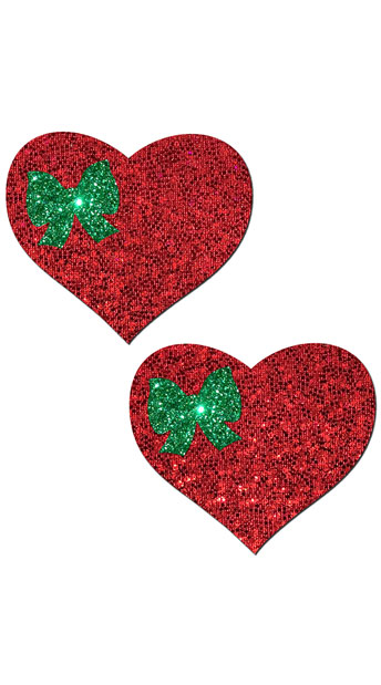 Red Glitter Heart with Green Bow Pastease - Red/Green