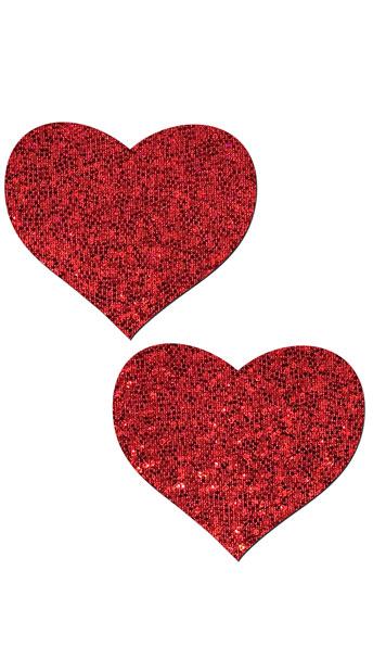 Glittered Love Heart Shaped Pasties - Red Glitter