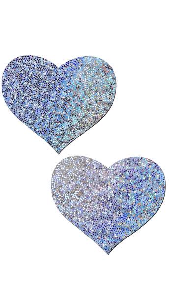 Silver Glitter Heart Pasties - Silver